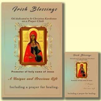 Oil dedicated to St Christina Kuristan on prayer cloth (promoter of the Holy Name of Jesus)