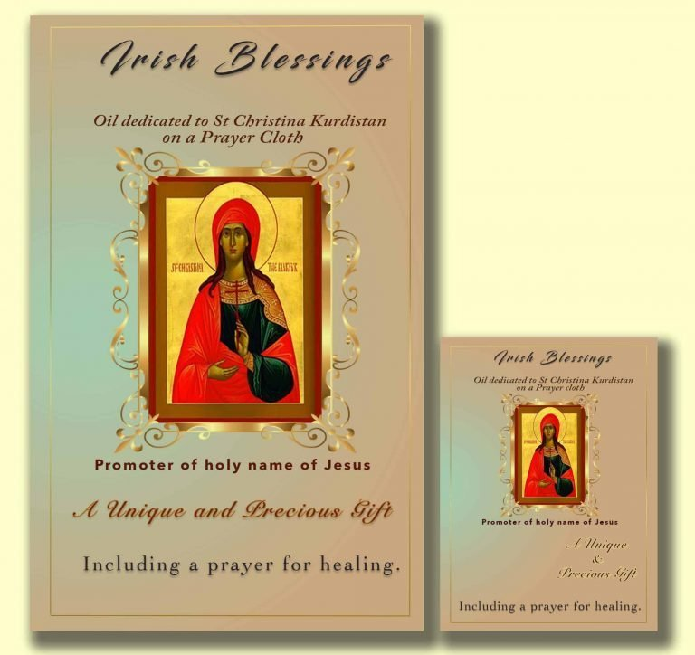Oil dedicated to St Christina Kuristan on prayer cloth (promoter of the Holy Name of Jesus)