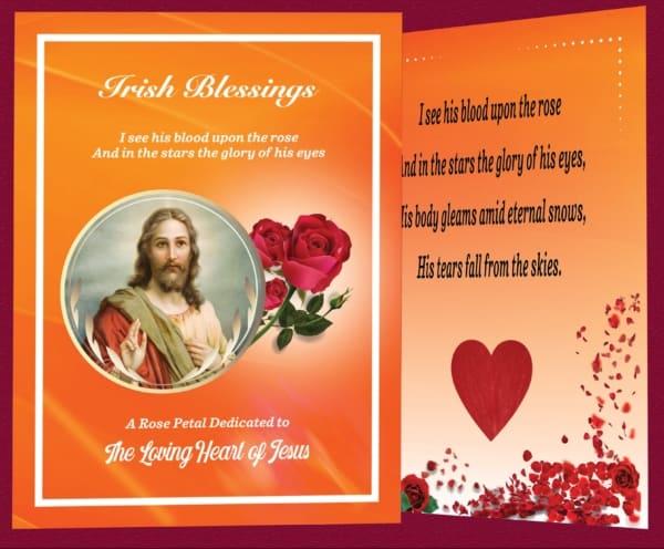 Red rose petal prayer card