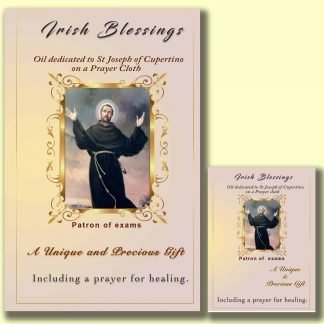 Oil dedicated to St Joseph of Cupertino on prayer cloth (patron for exams)