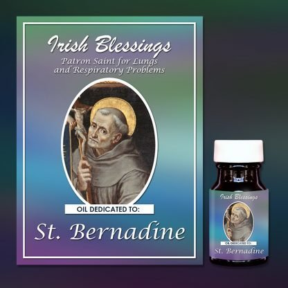 Oil dedicated to St Bernadine on prayer cloth (patron for breathing difficulties and gambling)