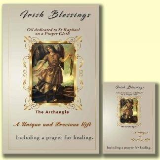 Oil dedicated to St Raphael on prayer cloth