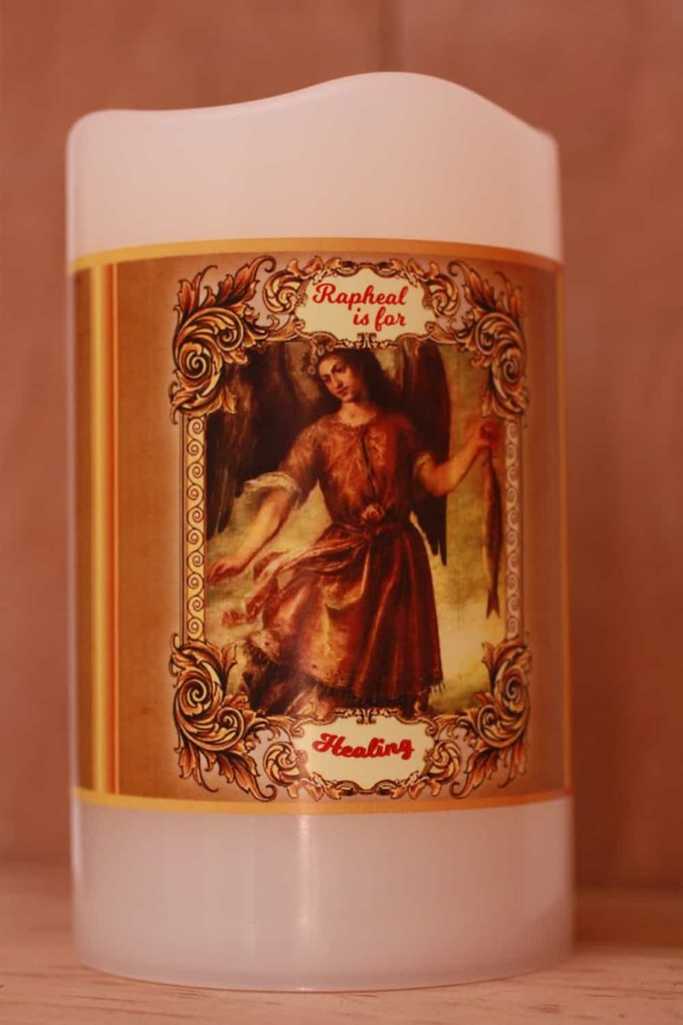 St Raphael battery candle