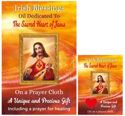 Oil dedicated to the Sacred Heart of Jesus on prayer cloth