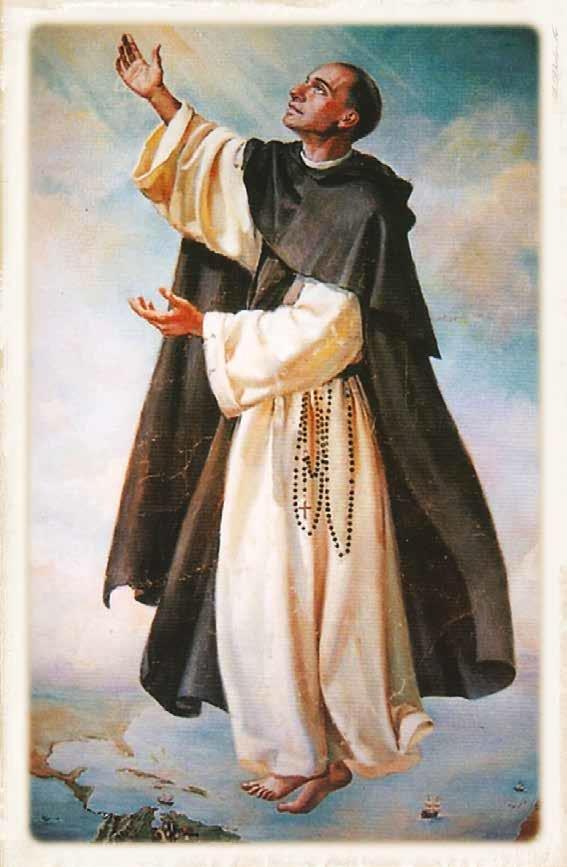 St John Macias on prayer cloth (patron for souls in Purgatory)