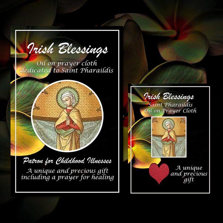 Oil dedicated to St Pharaildis on prayer cloth (patron for childhood illnesses)
