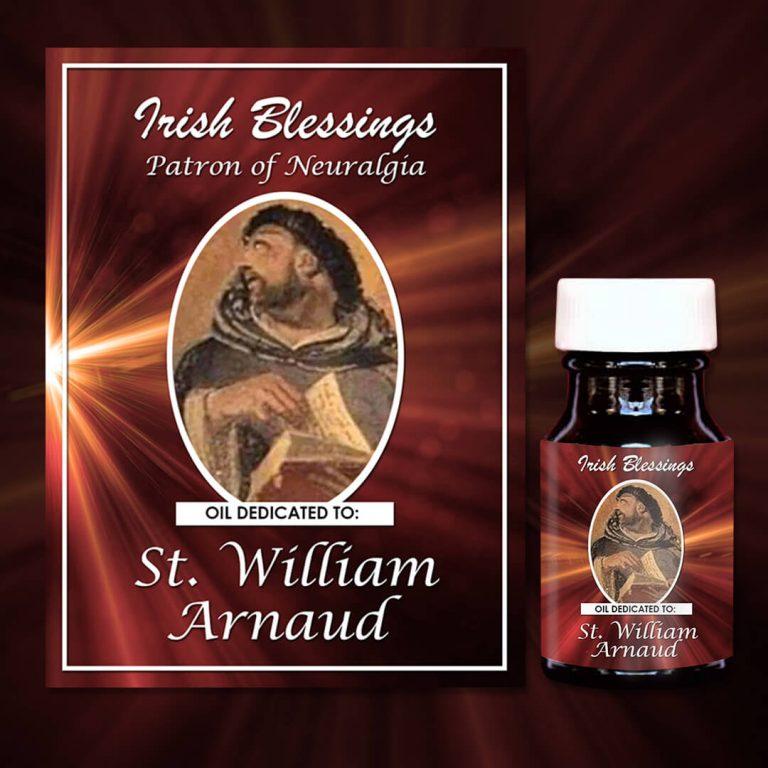 Oil dedicated to St William Arnaud on prayer cloth (patron for neuralgia)