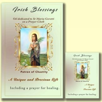 Oil dedicated to St Maria Goretti on prayer cloth (patron for teenage girls)