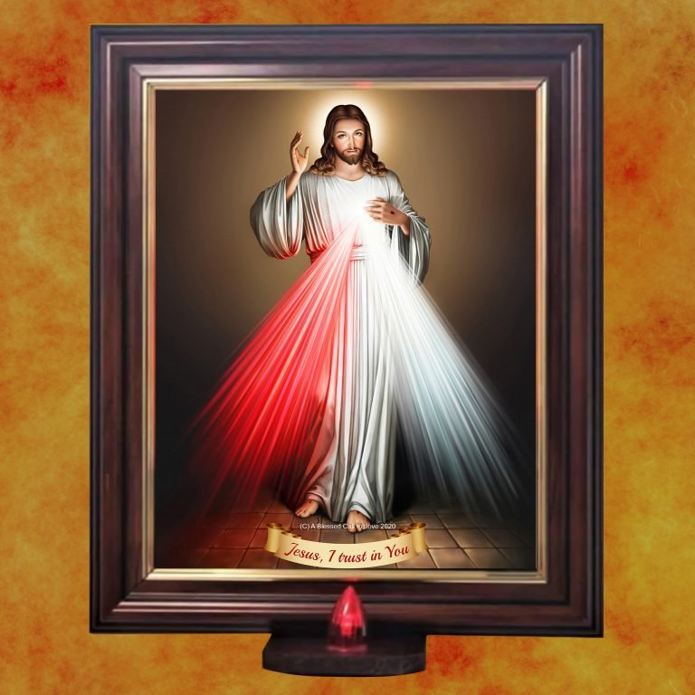 Divine Mercy framed picture with light