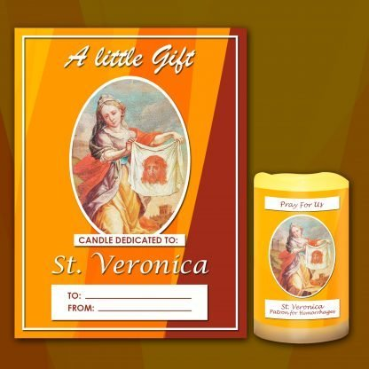 St Veronica candle and card 2