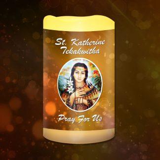 St Katherine Tekakwitha (Pray for Us) Battery Candle
