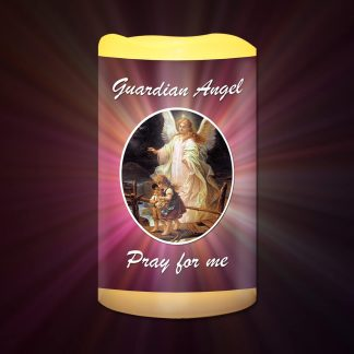 Guardian Angel Pray for me Battery Candle
