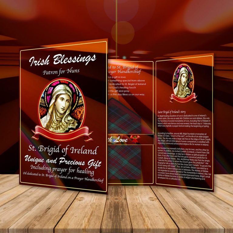 St Brigid of Ireland on a Prayer Handkerchief (Patron for Nuns)