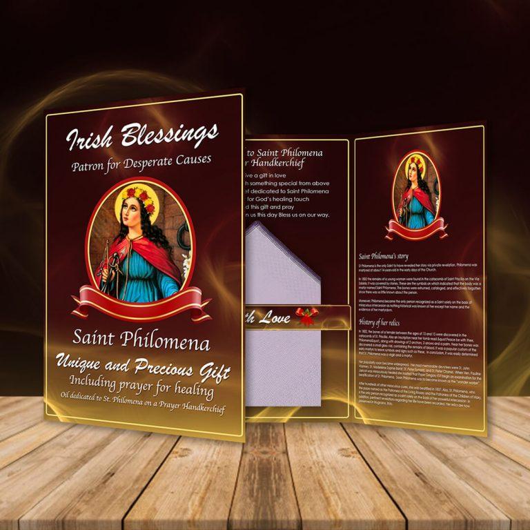 St Philomena on a Prayer Handkerchief (Patron for Desperate Causes)