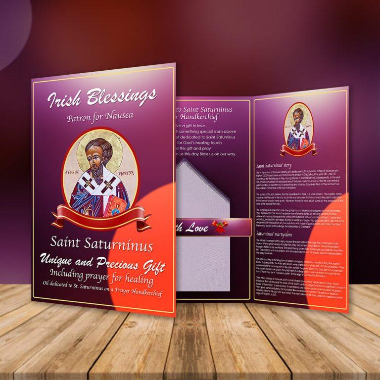 St Saturninus on a Prayer Handkerchief (Patron For Nausea)